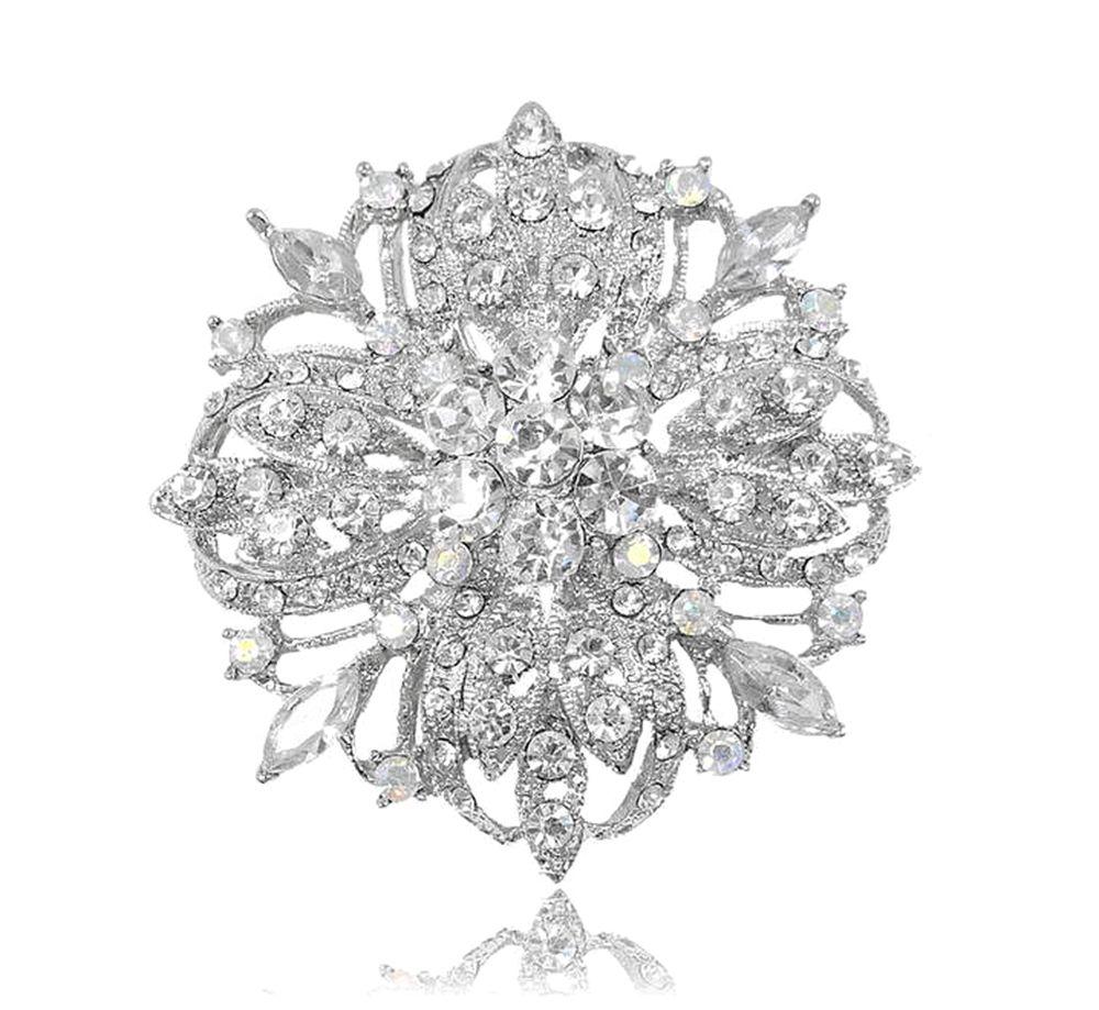 2.2 Inch Vintage Silver Tone Bridal Flower Pattern Clear Rhinestone Crystal Diamante Brooch Women Jewelry