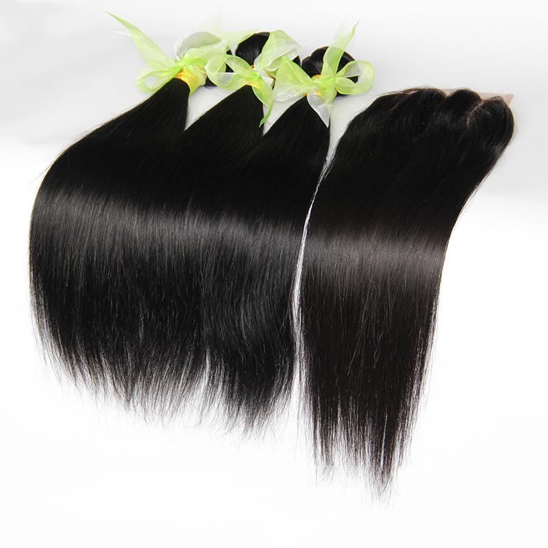 9A إغلاق الدانتيل مع 3 حزم البرازيلي بيرو الماليزية الماليزي العذراء مستقيم الشعر البشري ينسج 100٪ غير المجهزة ريمي الشعر ملحقات