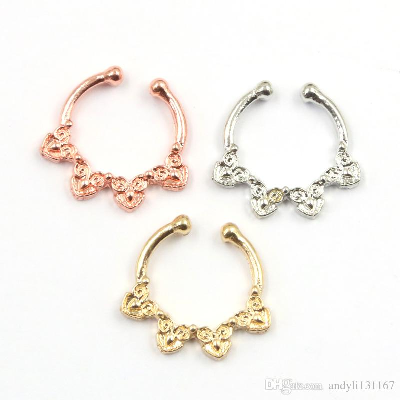 10pcs New Arrival silver and rose gold Nose Ring Fake Septum Piercing Hanger Clip On Body Jewelry Nose Hoop N0062