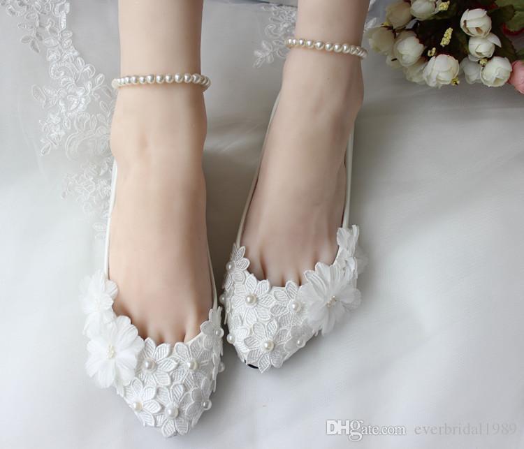 White Lace Wedding Shoes 2017 Pearls 3D-Applique Flats Bridal ...