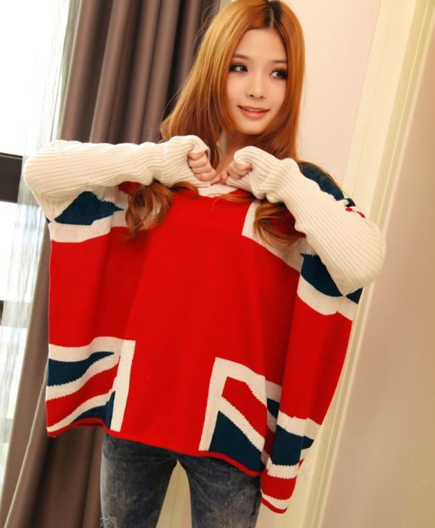الشتاء زائد حجم النساء المملكة المتحدة العلم نمط سميكة الخفافيش كم طويل البلوز المتضخم سترة عارضة فضفاض محبوك البلوز معطف القمم