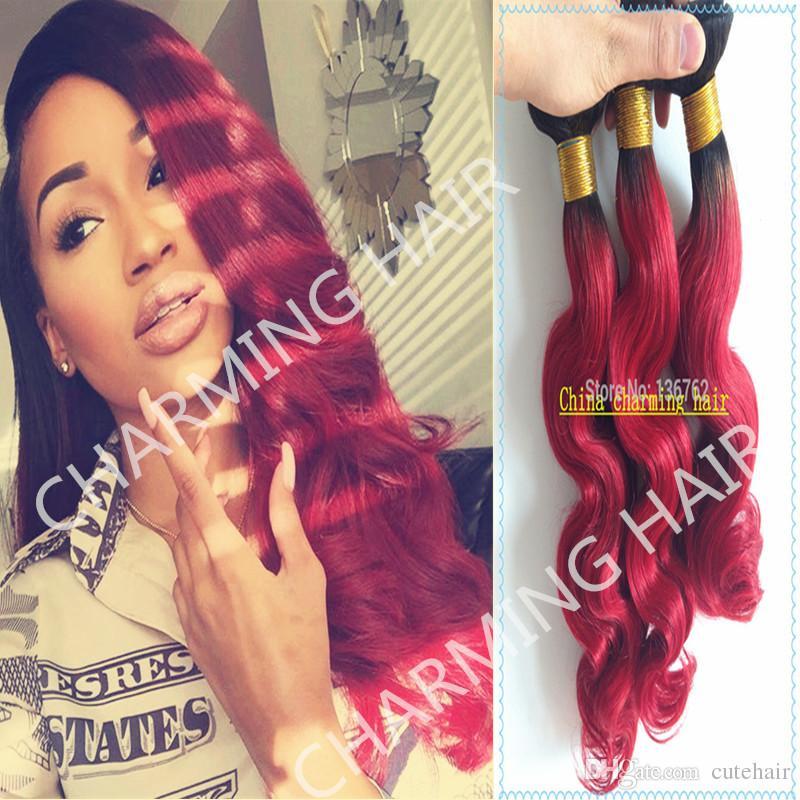 البرازيلي شعر الجسم موجة الشعر 1b / أحمر الشعر أومبير ينسج أطوال مختلطة 3 قطع الكثير اثنين من لهجة الشعر التمديد