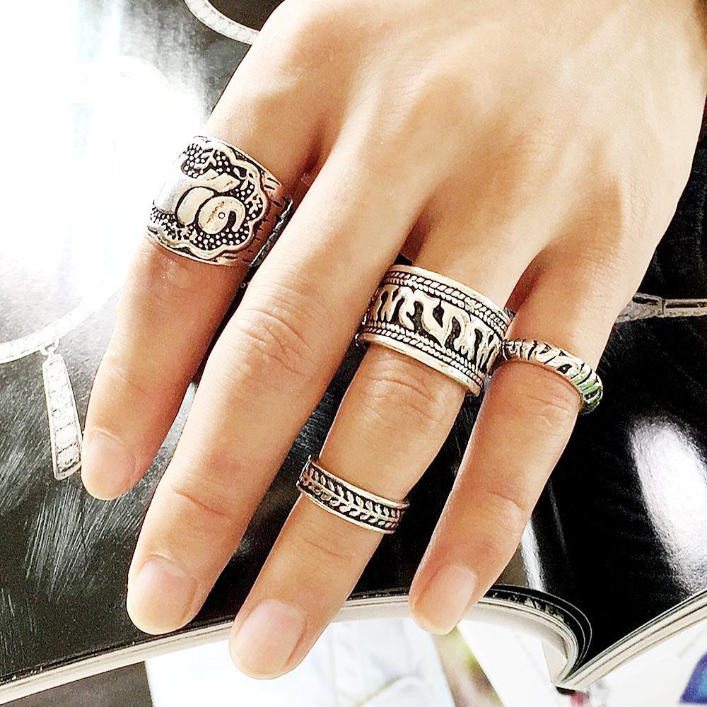 4 шт. / Много Костяшки Кольца женские кольца совместное кольцо Мода горячий панк стиль Резные Слон Кольцо цветок Урожай Серебро золото два стиля