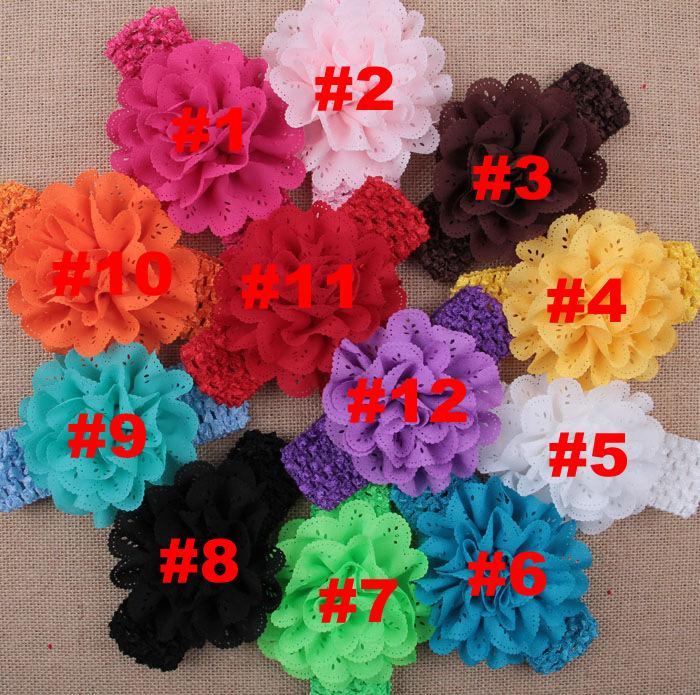 Baby Girls Cheap Chiffon Flower Crochet Headbands Kids headwear Children Hair Accessories Christmas boutique Party Gift 12 colors 20pcs/lot