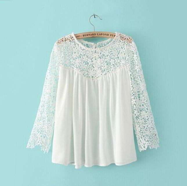 Conosciuto ST2133 nuove signore di modo 'eleganti camicie bianche patchwork  FD89