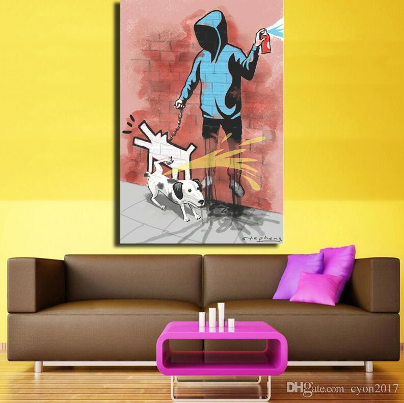 Large Size Banksy Art Dog Pee To Man With Dog Canvas Painting Prints ...