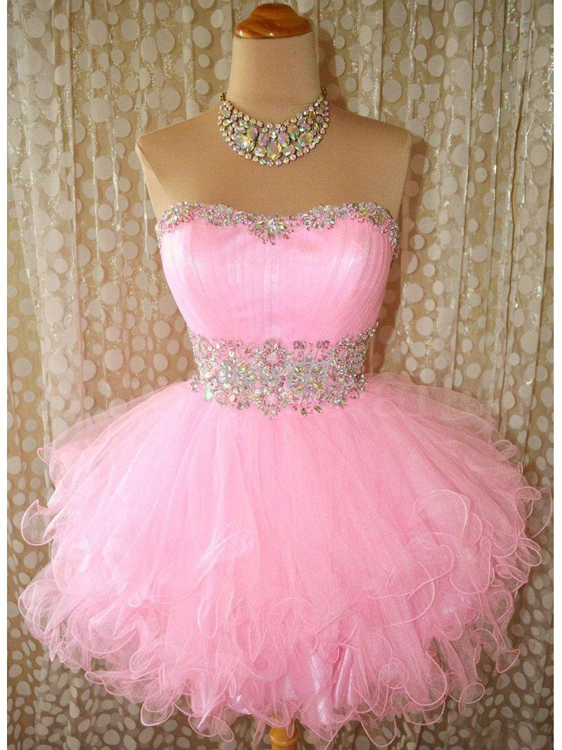 Cheap Short Puffy Prom Party Dresses Poofy Ball Gown Beaded Pink ...