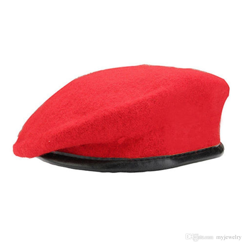Vintage Unisex Men Women Military Wool Beret Soldier Army Hat Solid Apparel