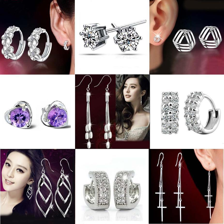 Silver Stud Earrings Hot Sale Crystal Flower Drop Dangle Earring for Women Girl Party Fashion Jewelry Wholesale Free Shipping 0203WH