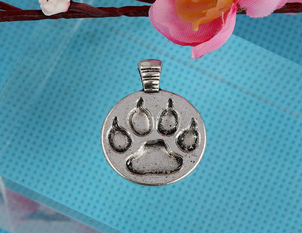 Vintage Silver Cat Dog Paw Prints Charms Pendants For Women Dress Bracelet Necklace Fashion Jewelry Making Gifts Girls Bijoux 100PCS A20