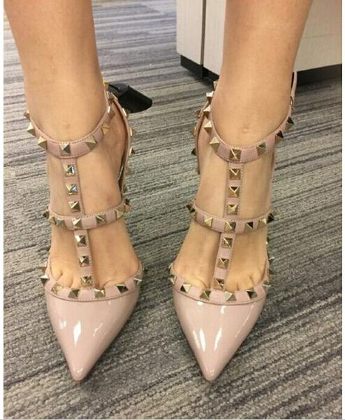Designer Pointed Toe Multi Strap Studs