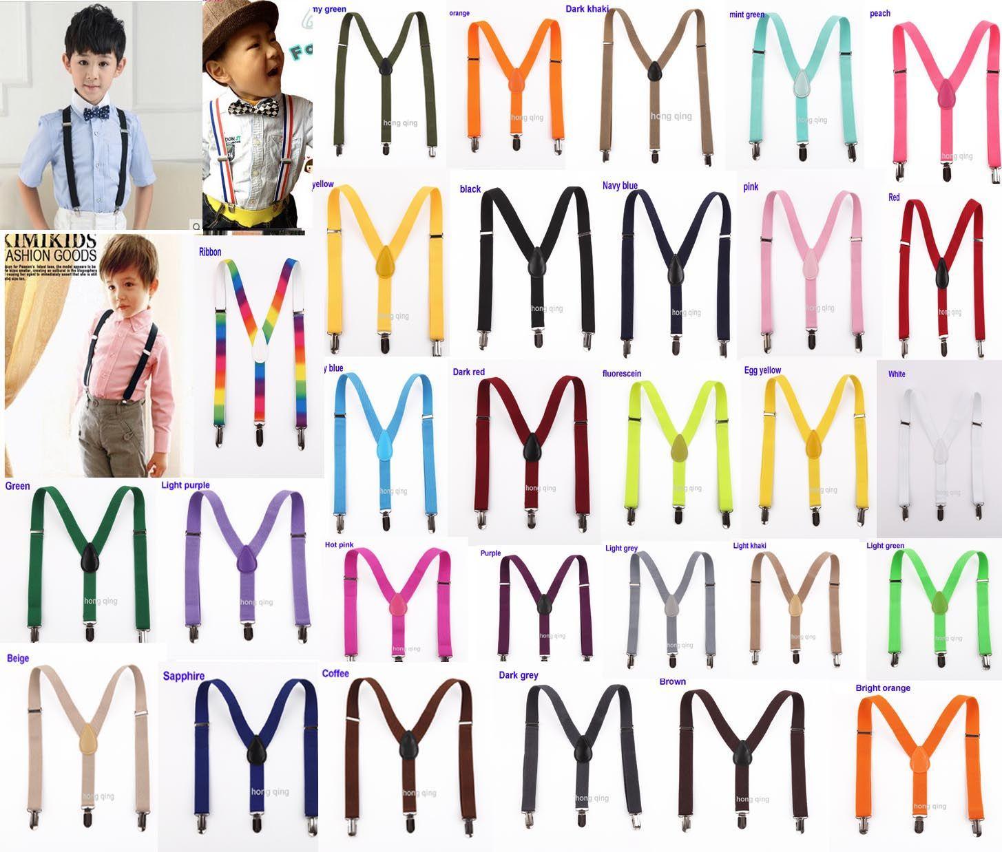 20pcs New Children Kids Boy Girls Clip-on Y Back Elastic Suspenders Adjustable Braces Christmas gift full color