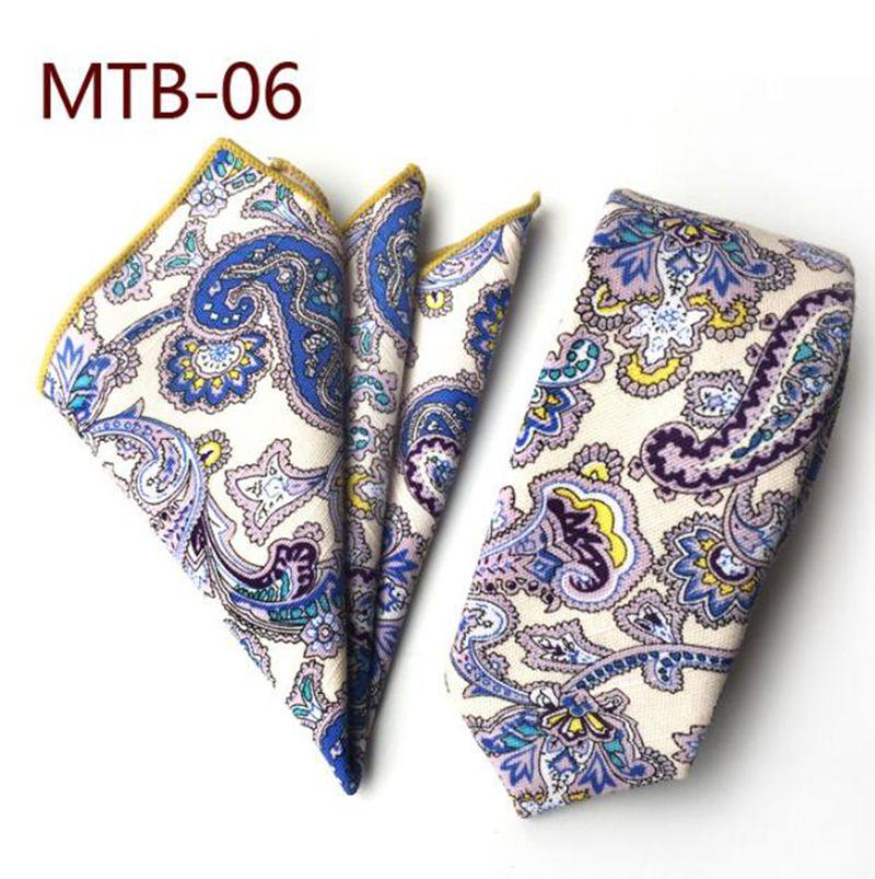 Men/'s Tie /& Handkerchief Set Slim White Blue Paisley Quality Cotton MTB06
