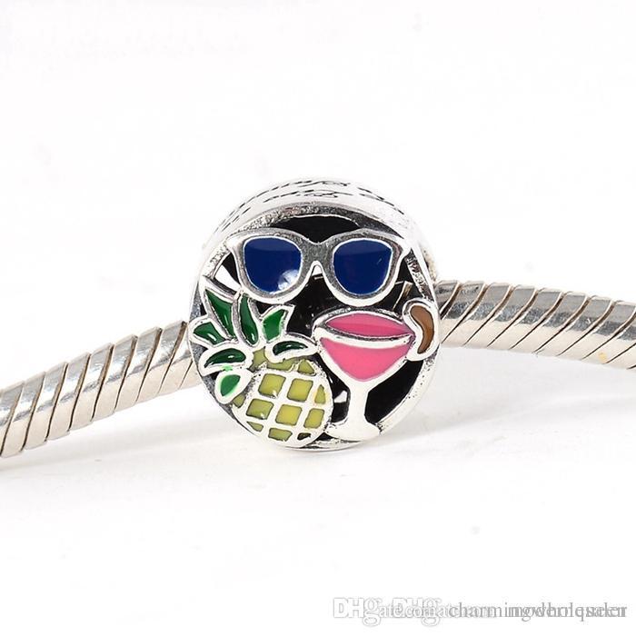 5 pçs / lote autêntico verão divertido encantos beads 925 prata esterlina serve pulseiras estilo pandora 792118ENMX H9