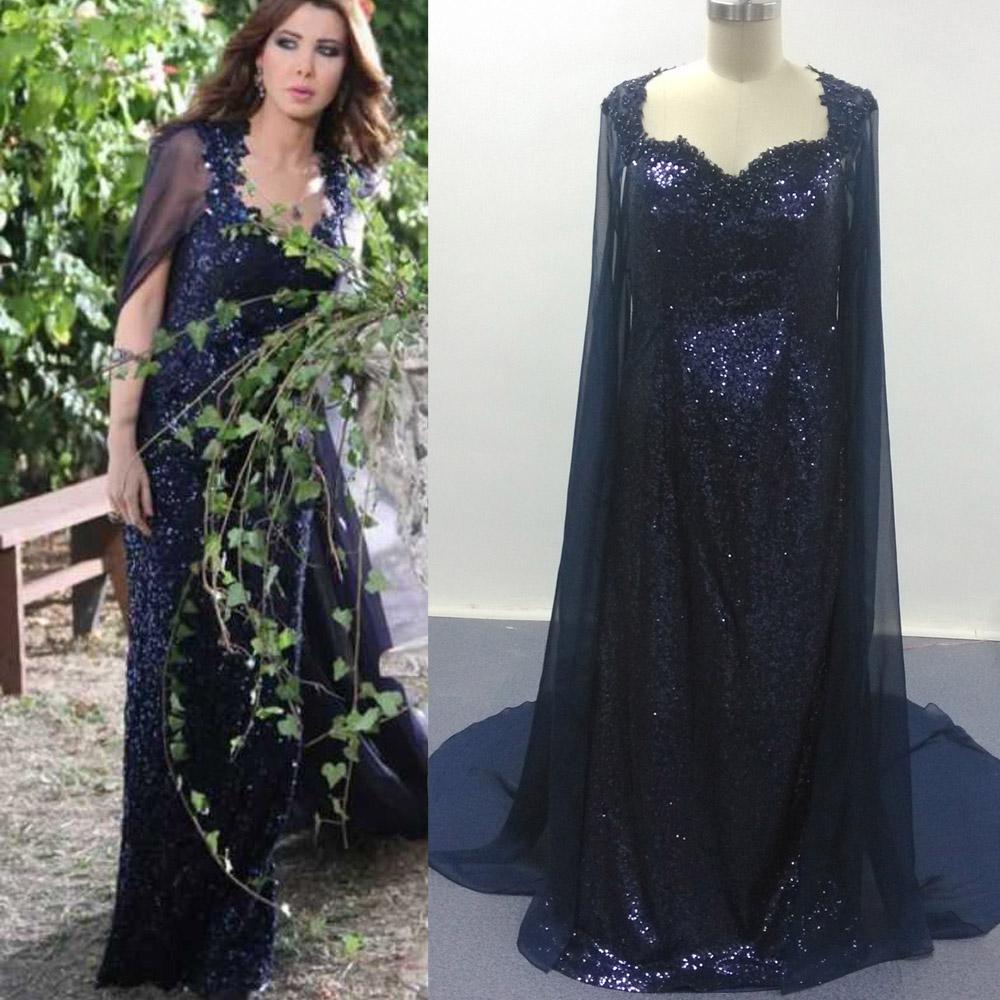 Nancy Ajram Navy Celebrity Dresses with Chiffon Cape Sheath Sequins Gown Sweetheart Neckline Floor Length with Sheer Back vestido de formatu