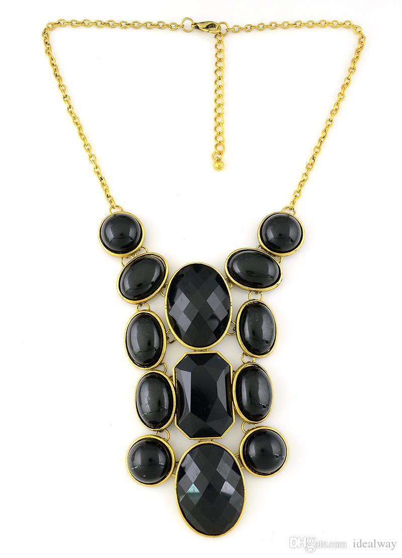 idealway Vintage Style Resin Gem Statement geometry Choker Bib Necklace