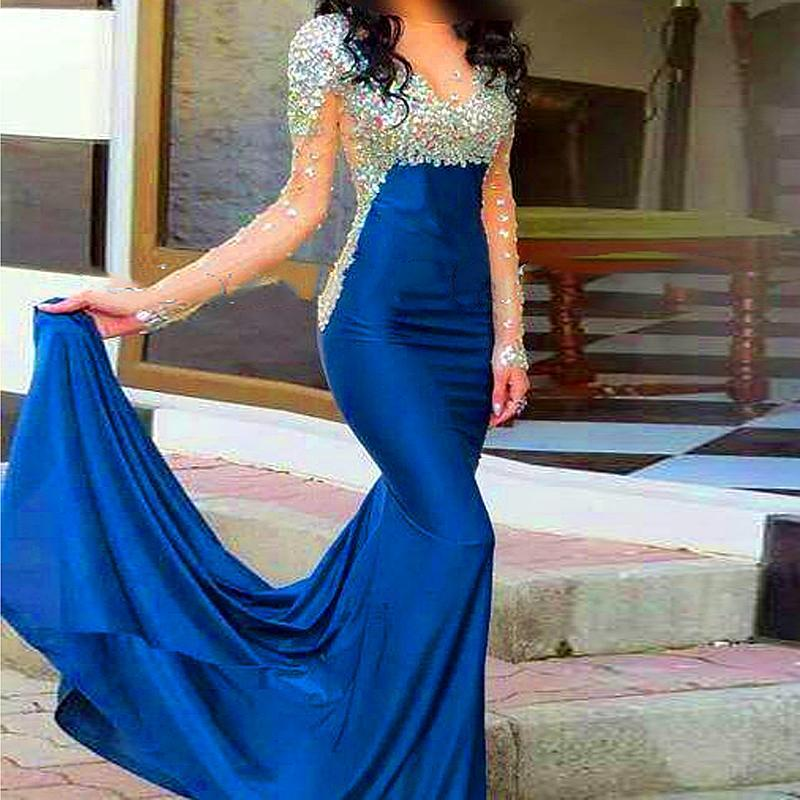 2016 Fashion Crystal Navy Blue Satin Long Sleeve Evening Dresses 2015 Sheer Mermaid Evening Party Prom Gowns with Rhinestone
