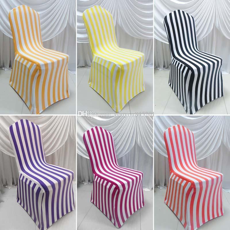 6 couleurs pour Choice Stripe imprimé Spandex Cover Cover 50 PCS un lot livraison gratuite pour un usage de mariage