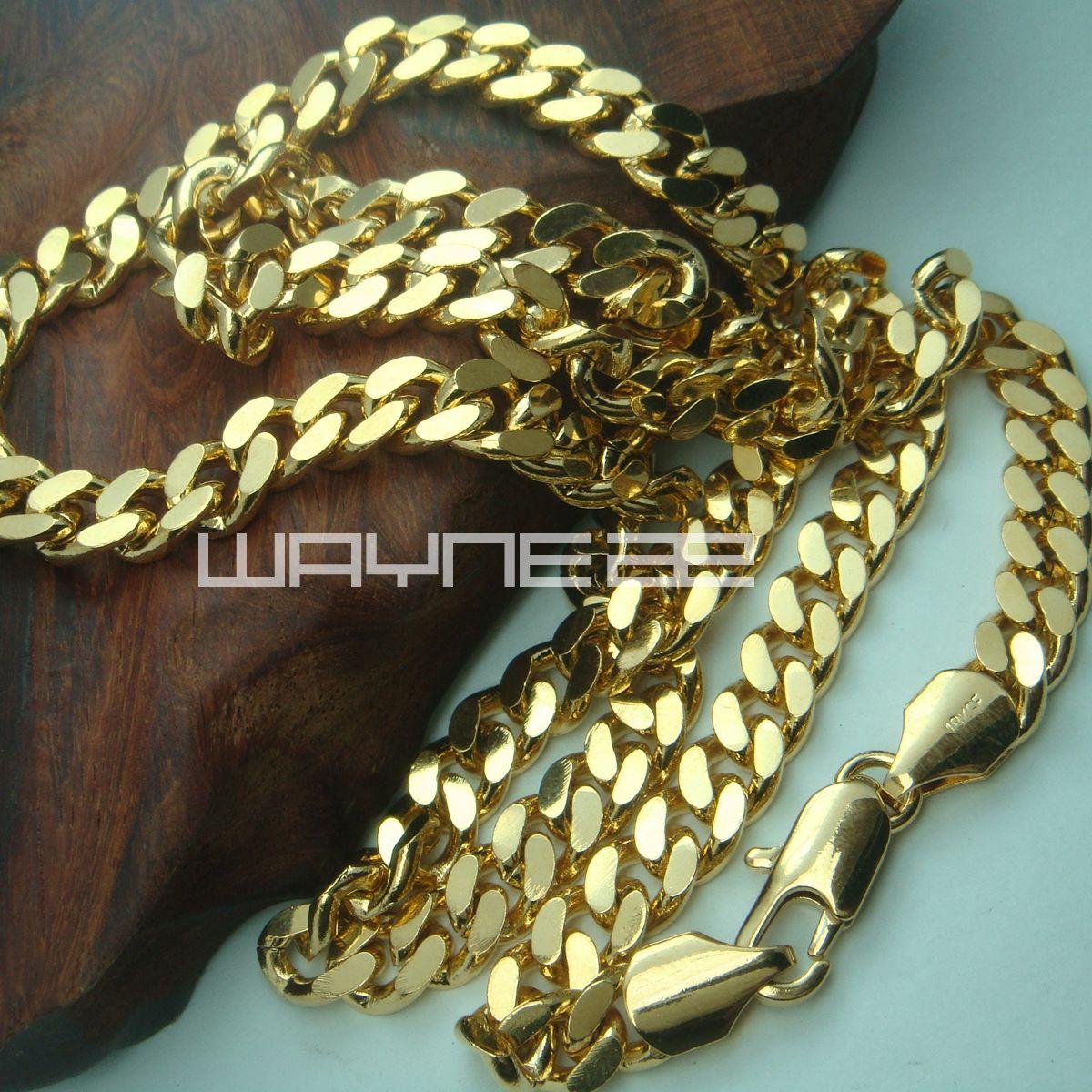 18k Yellow Gold Wypełnione męskie 60 cm Długość 8mm Naszyjnik Łańcuch Biżuteria N219