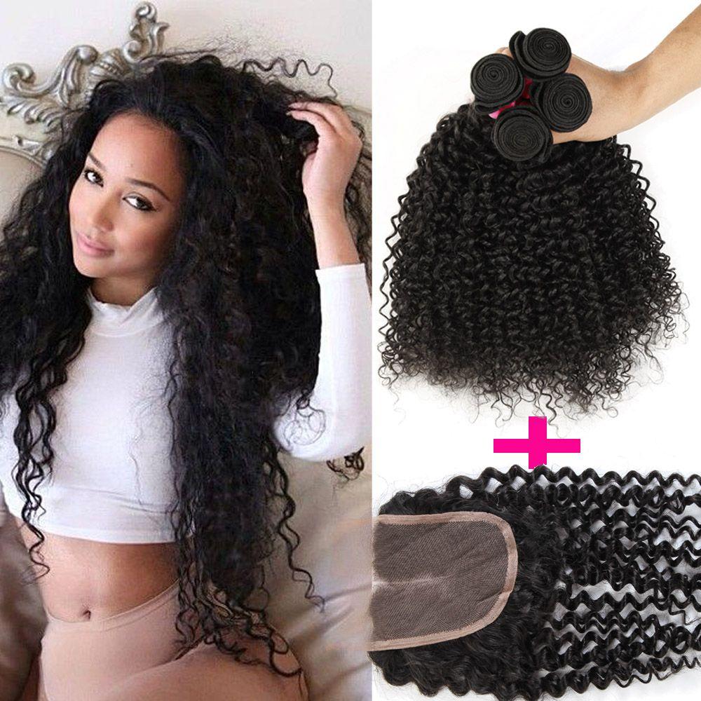 Топ кружева закрытие + 3 шт. вьющиеся волосы утки бразильский кудрявый вьющиеся Виргинские человеческих волос ткать наращивание волос глубоко вьющиеся 7A Реми человеческих уток