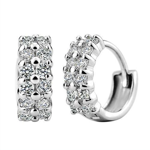 Hoge Kwaliteit 925 Sterling Zilveren Stud Oorbellen voor Vrouwen Strass Crystal Double Row Ear Clip Wedding Mode-sieraden