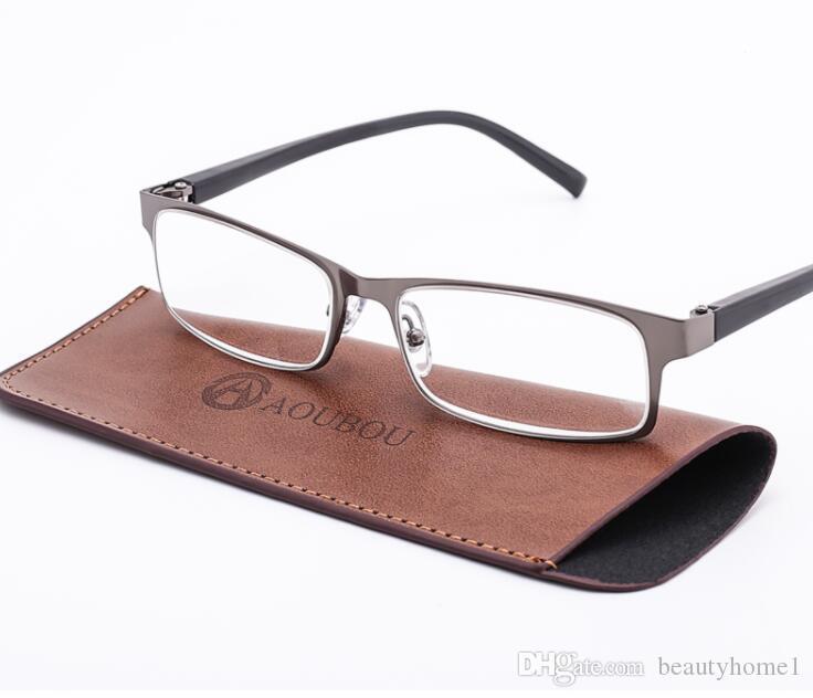 Marke High-End Business Lesebrille Männer Edelstahl PD62 Gläser Ochki 1,75 + 3,25 Grad Gafas De Lectura
