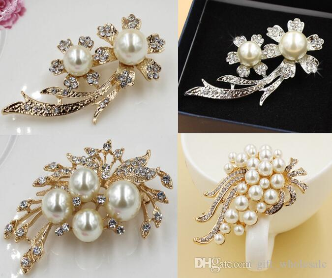 Gold Silver Plated Wholesale Lot 12PCS Lovely Crystal And Faux Pearl Brooch Pin 3 styles and 6 colors for choices