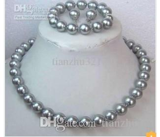 12MM Shell Perlenkette Armband Ohrring Set