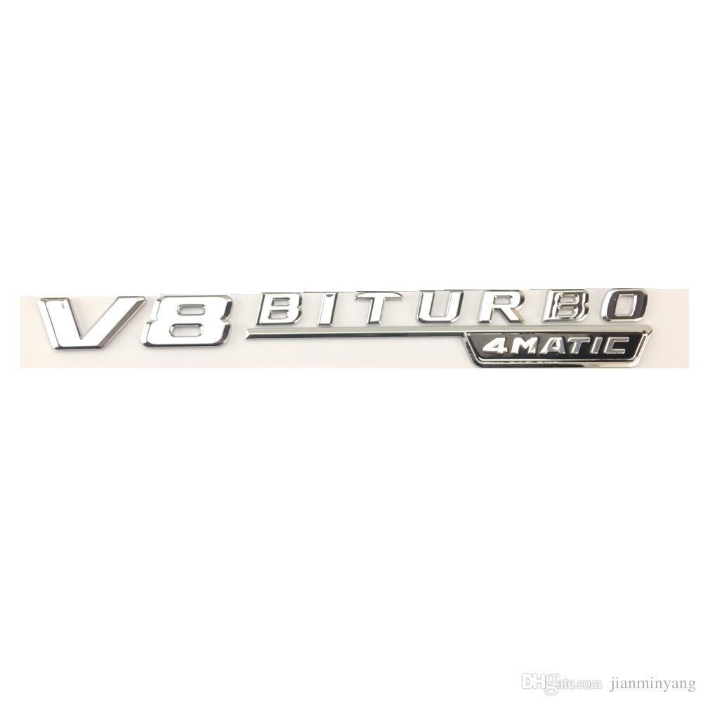 Chrome Flat V8 BITURBO Letters Trunk Side Emblem Badge Sticker for Mercedes Benz