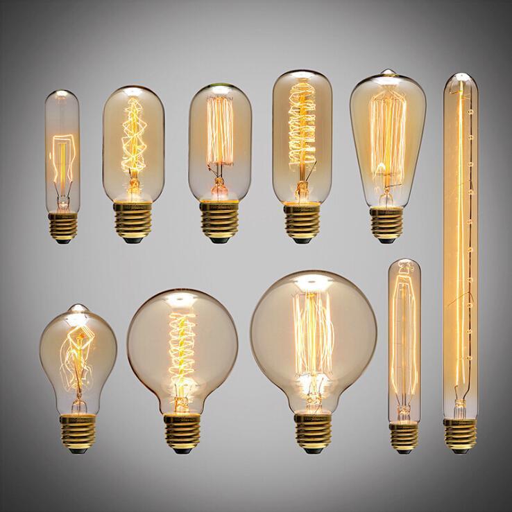 40W Filamento Luz Bombillas Vintage Retro Estilo Industrial Edison Lamp E27 Edison Bulb Vintage Incandescente Luces Tungsteno Bombilla