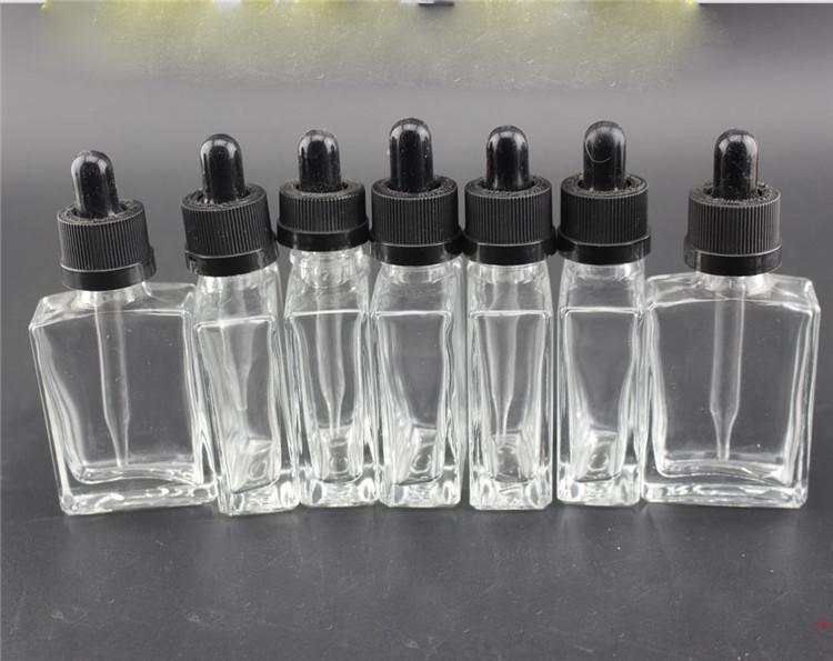 판촉 가격 30 ml 유리 병 e 액체 사각형 유리 dropper 병, Tamper-Proof Caps 재고 있음