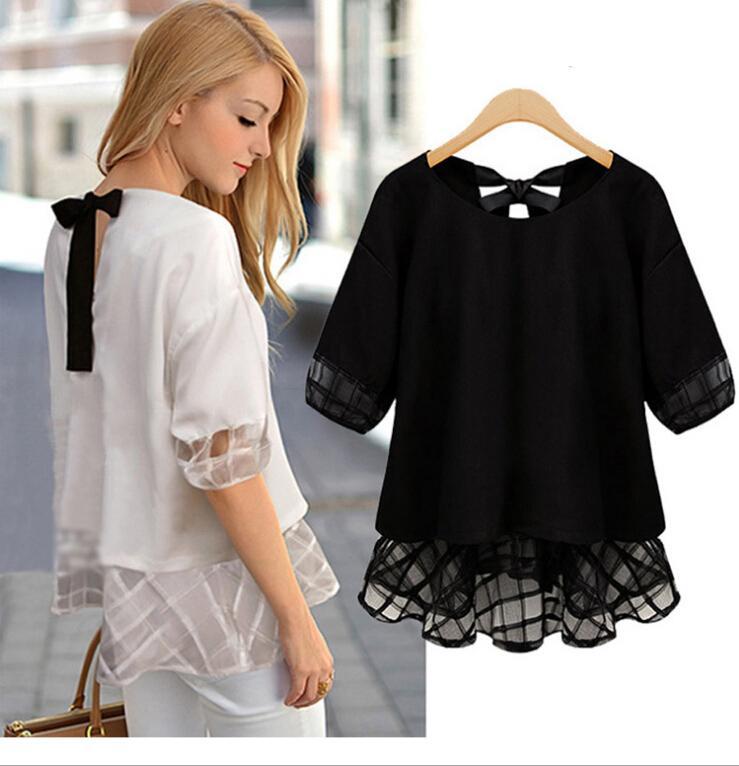 S-XXL Size 2016 New Women Summer Blouses & t Shirts Chiffon Blouse Roupas Femininas Short Sleeve Casual Tops Shirt Blouses for Women
