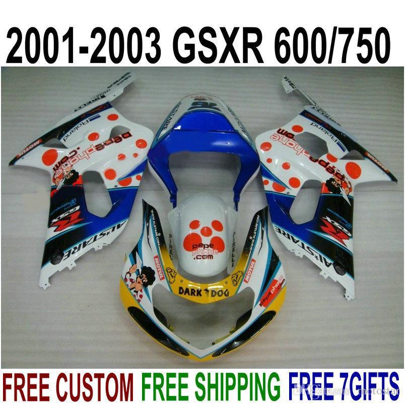 ABS plastic bodykits for SUZUKI GSX-R600 GSX-R750 01 02 03 fairing kit K1 GSXR 600/750 2001-2003 blue GARK DOG fairings set SK54