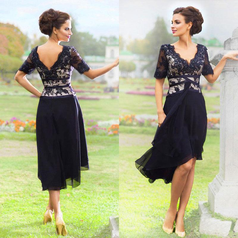 2017 New Elegant Navy Blue Mother Of The Bride Dresses With Half Sleeves V  Neck Lace Evening Dresses Tea Length Formal Wear BA1735 Champagne Mother Of