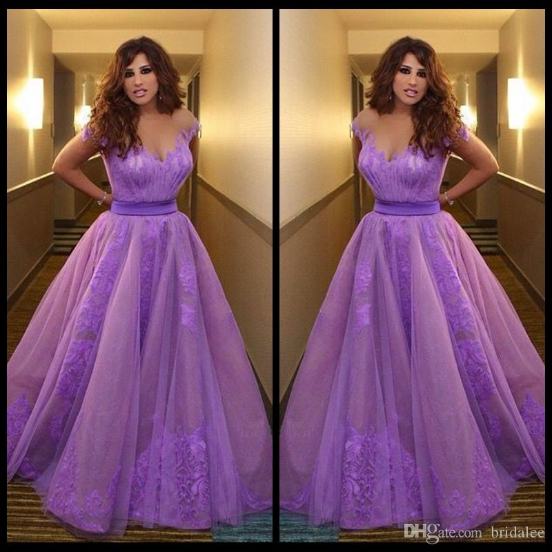 Ispirato da Najwa Karam Celebrity Dresses Arabia Saudita Dubai Appliques viola Violet sera convenzionale degli abiti di Vestidos