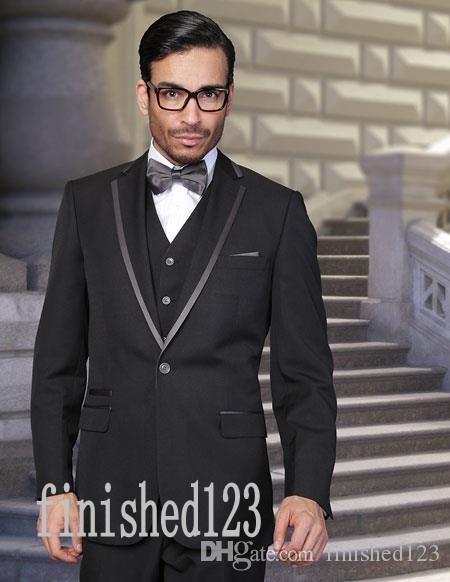 New Arrivals One Button Black Groom Tuxedos Notch Lapel Groomsmen Best Man Wedding Prom Dinner Suits (Jacket+Pants+Vest+Tie) G3999