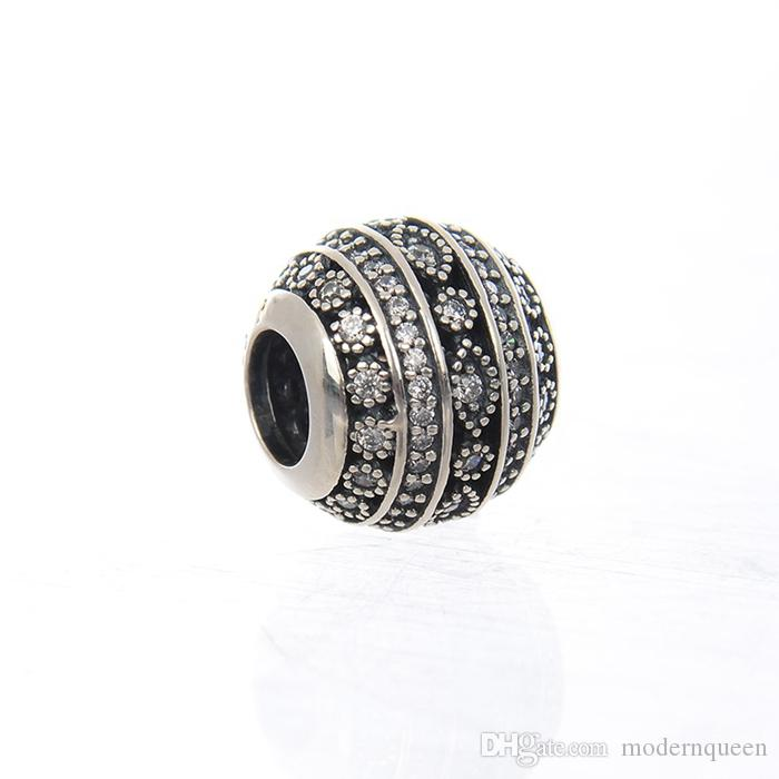 Forme scintillanti Charms Branelli di cristallo per gioielli facendo vera argento sterling S925 adatti per bracciale stile fai da te H8