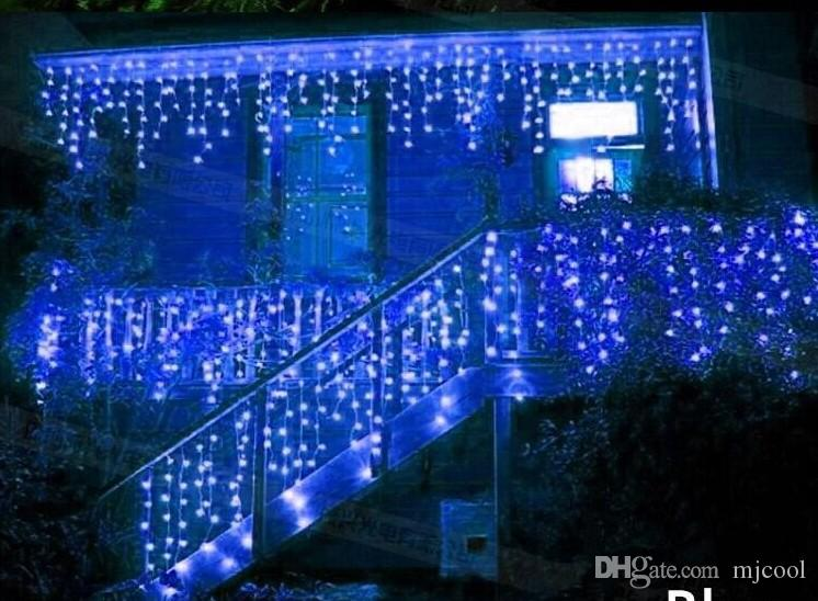 مصابيح 5M 200LEDs أضواء الستار وامض LED حارة سلسلة رقاقة الثلج عيد الميلاد الستار حديقة المنزل مهرجان 110V-220V الاتحاد الأوروبي المملكة المتحدة الولايات المتحدة الاتحاد الافريقي قابس