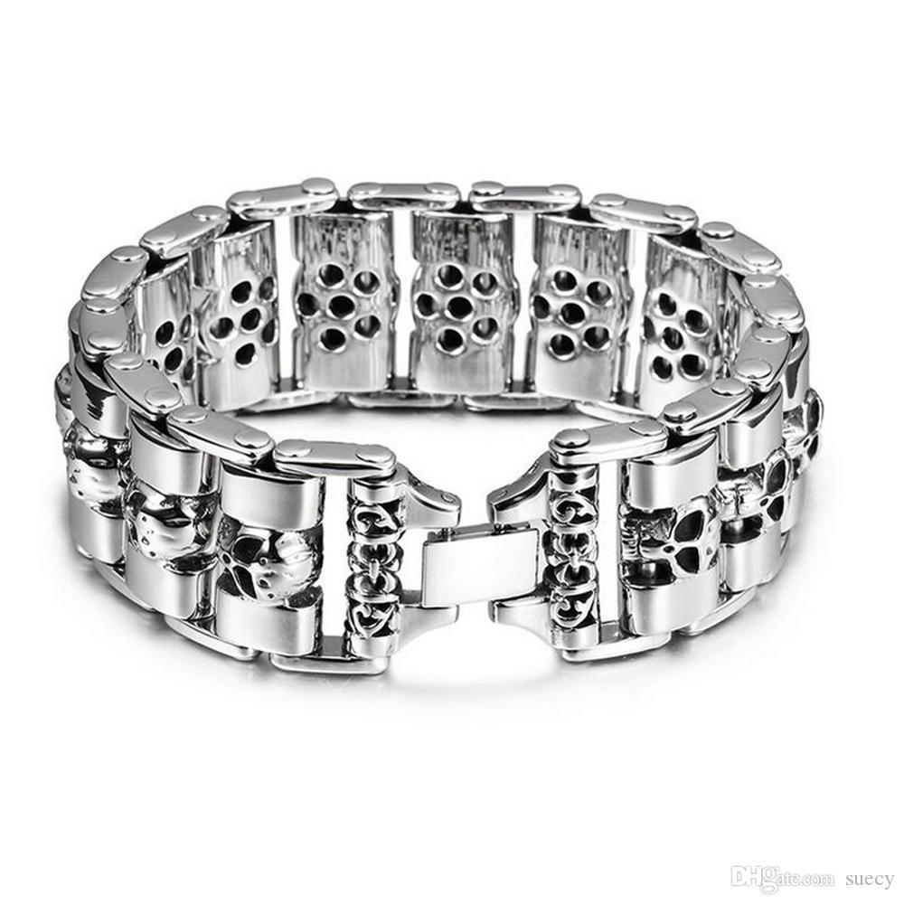 24mm de largura dos homens pesados pulseiras do punk crânio pulseira homens motociclista de jóias em aço inoxidável envoltório esqueleto pulseira pulseiras