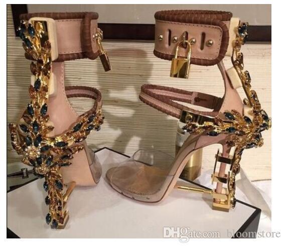 Luxury Metallic Lock Women Rome Sandals 10 Colors Ladies Unique Diamonds Heels Pumps Rihanna Peep Toe High-heeled Dress Wedding Shoes