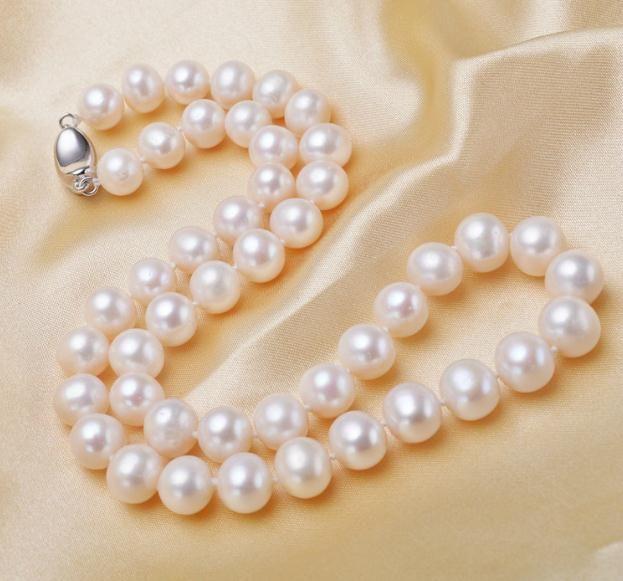 9-10 мм белый природный пресноводный жемчуг ожерелье 18 дюймов 925 серебро