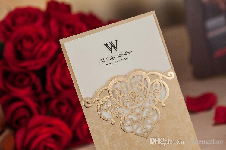 new free shipping champagne floral laser cut wedding invitations