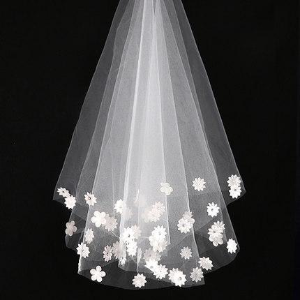 في STCOK !! أرخص !! الطبقات الأبيض اثنين الزفاف الحجاب تول زين الكوع طول شحن مجاني ملحقات الزفاف العروس الحجاب QM