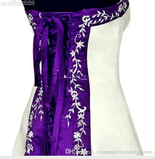 Hot Sale White and Purple Wedding Dresses Strapless Beads Embroidery ...