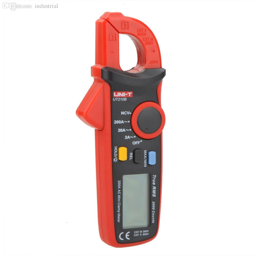 Wholesale-UNI-T Professional Multifunction True RMS 200A AC Mini Clamp Meters Ammeter w/ NCV Test & LCD Backlight UT210B Amperimetro