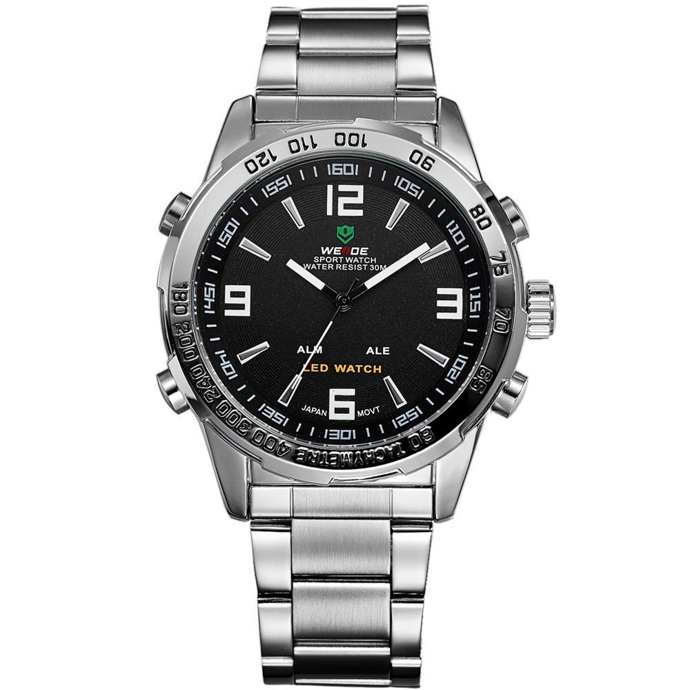WEIDE аналого-цифровой светодиодный дисплей для мужчин Спорт Япония кварцевые наручные военные часы, WH1009, 24-часовая отправка