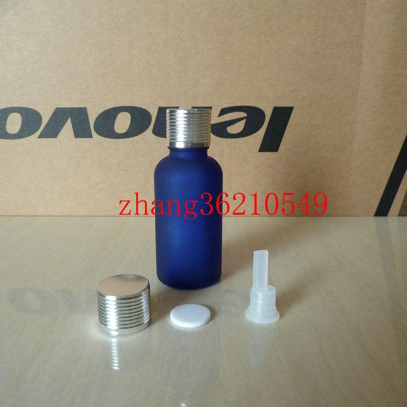 30ml 푸른 젖빛 유리 에센셜 오일 병 반짝이 은색 알루미늄 캡. 오일 바이알, 에센셜 오일 용기