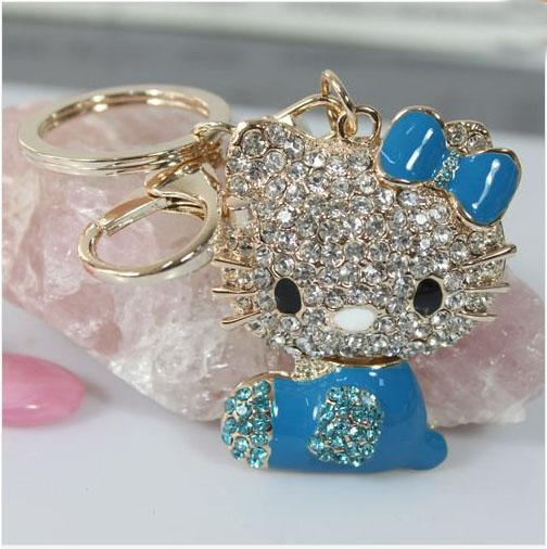 Gold Cat Kitty Crystal Bling Key Chain Keyring with Tassel Car Purse