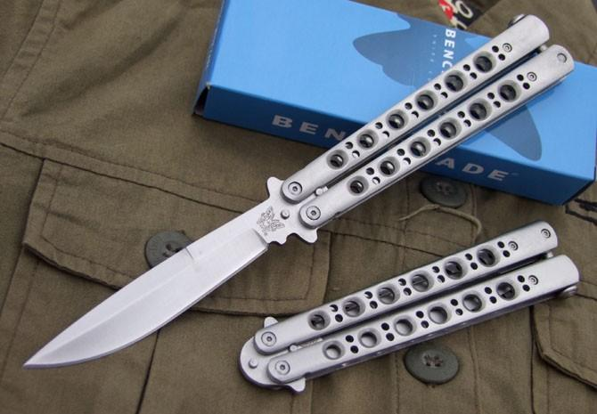 Benchmade Bm Bm42 Balisong Butterfly Knife Tactical Knife Satin Plain 42 Bm43 Bm47 Edc Pocket Survival Knife Knives With Nylon Sheath Folding Hunting