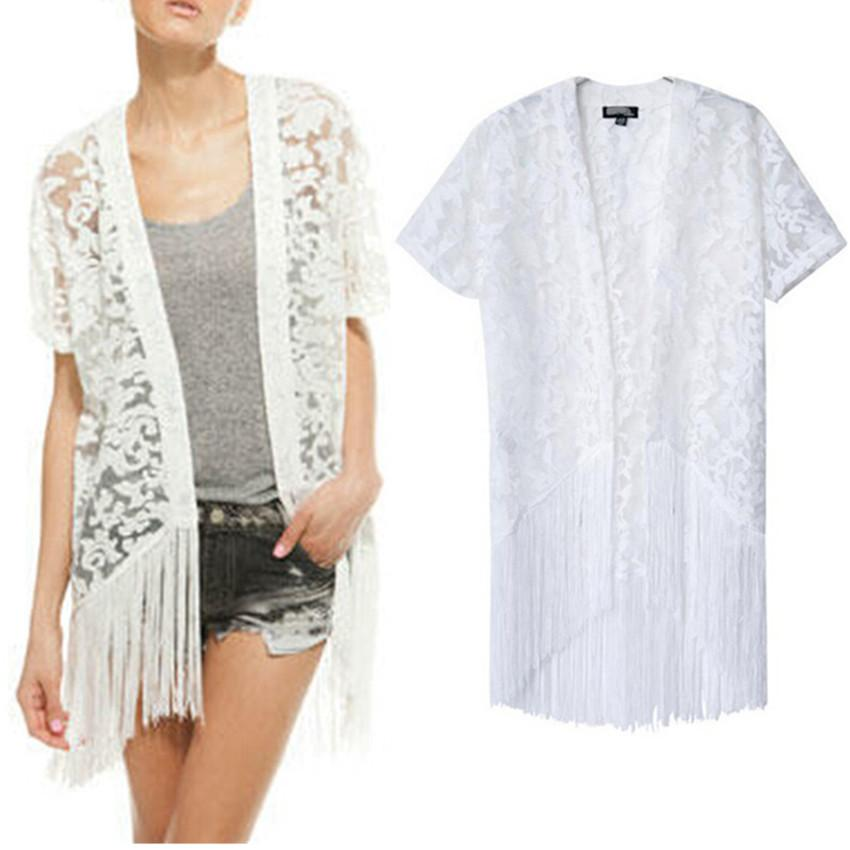 7eaf86844 2014 New Summer Women's White Lace Crochet Embroidered Loose Kimono Cardigan  Tassels Short Sleeve Shirts No Button Blouses Tops
